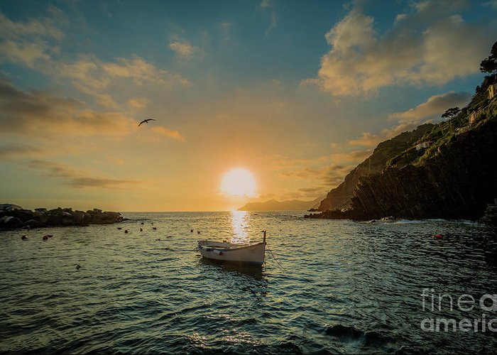 Travel Greeting Card featuring the photograph Sunset in Cinque Terre by Alex Dudley
