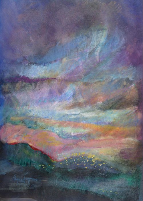 Looking Out Over The Hills Greeting Card featuring the pastel Sunset In Efrat by Bryna La