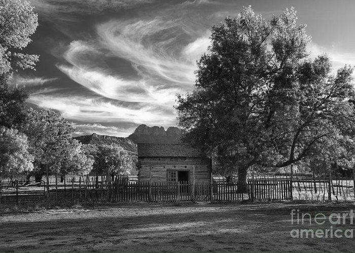 Black & White Greeting Card featuring the photograph Sunset In Grafton Ghost Town by Sandra Bronstein