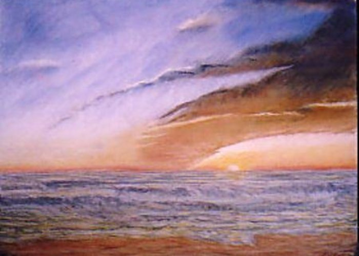 Seascape Greeting Card featuring the painting Sunset In Huntington by Jack Spath