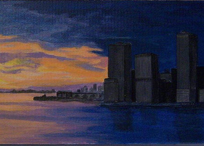 Sunset Greeting Card featuring the painting Sunset In New York City by Nancy Nuce