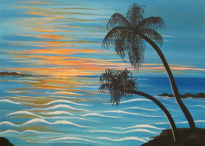 Paradise Greeting Card featuring the painting Sunset In Paradise by Carol Sabo