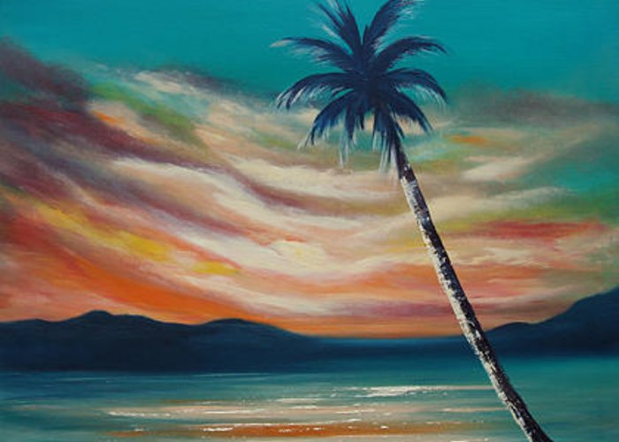 Sunset Greeting Card featuring the painting Sunset In Paradise by Gina De Gorna