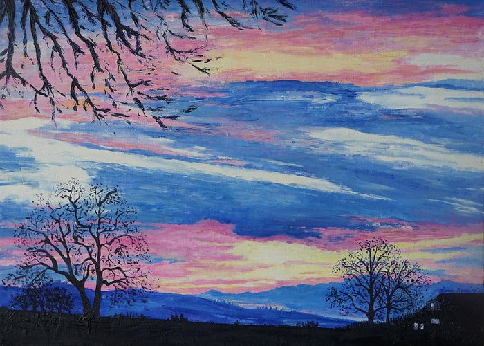 Landscape Greeting Card featuring the painting Sunset In The Country by Lisa Rose Musselwhite