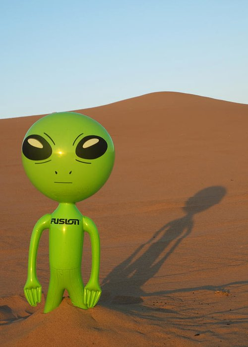 Alien Greeting Card featuring the photograph Sunset in the Dunes with an Alien by Richard Henne