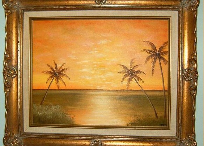 Landscapes Greeting Card featuring the painting Sunset In The Tropics by Bonnie Murphy