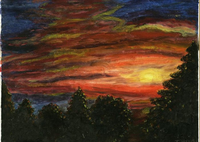 Sunset In Washington State Greeting Card featuring the painting Sunset In Washington State by Tanna Lee M Wells