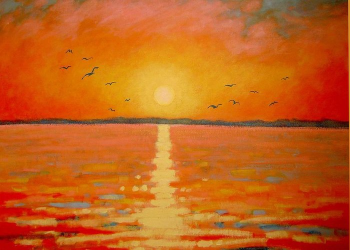 Sunset Greeting Card featuring the painting Sunset by John Nolan