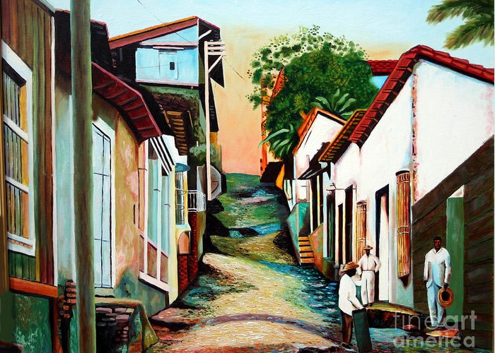 Cuban Art Greeting Card featuring the painting Sunset by Jose Manuel Abraham