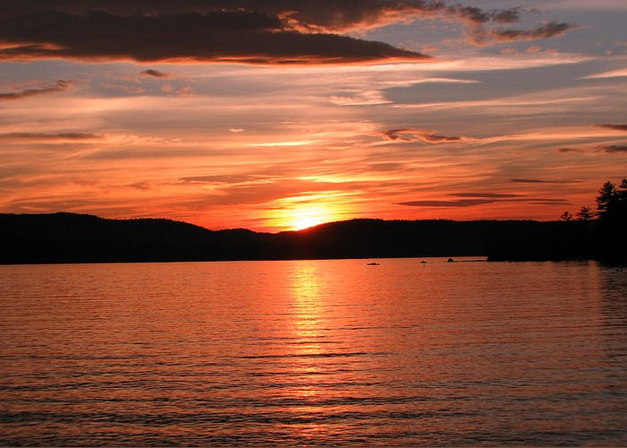 Lakes Region Photographs Greeting Card featuring the photograph Sunset-lake Waukewan 1 by Michael Mooney