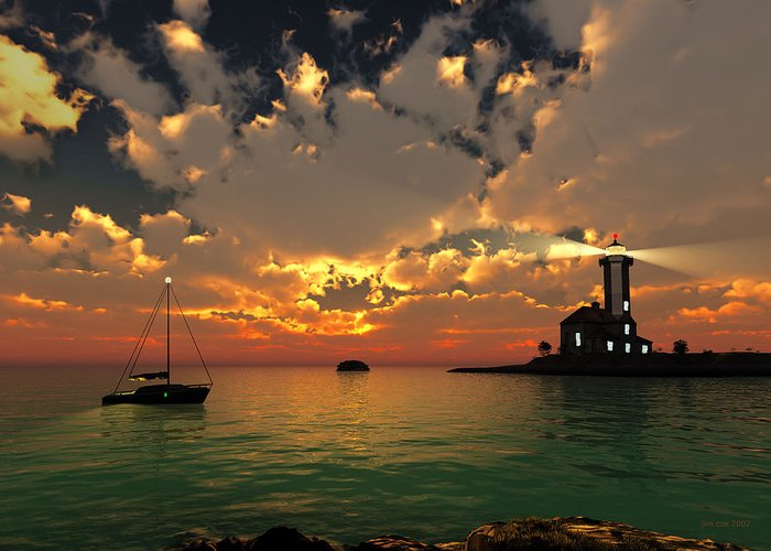Jim Coe Greeting Card featuring the digital art Sunset Lighthouse by Jim Coe
