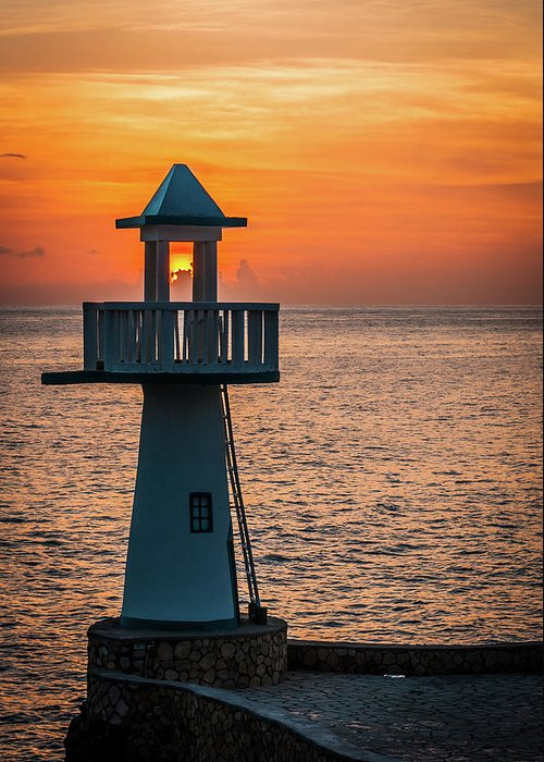 Sunset Greeting Card featuring the photograph Sunset Lighthouse by Jim Cole