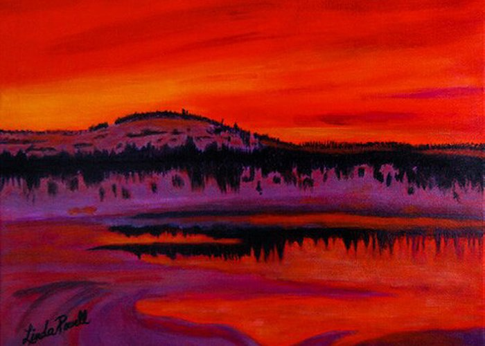 24 Inch Abstract Acrylic Landscape Red Purple Black Yellow Mountains Trees Lake Reflections Greeting Card featuring the painting Sunset by Linda Powell