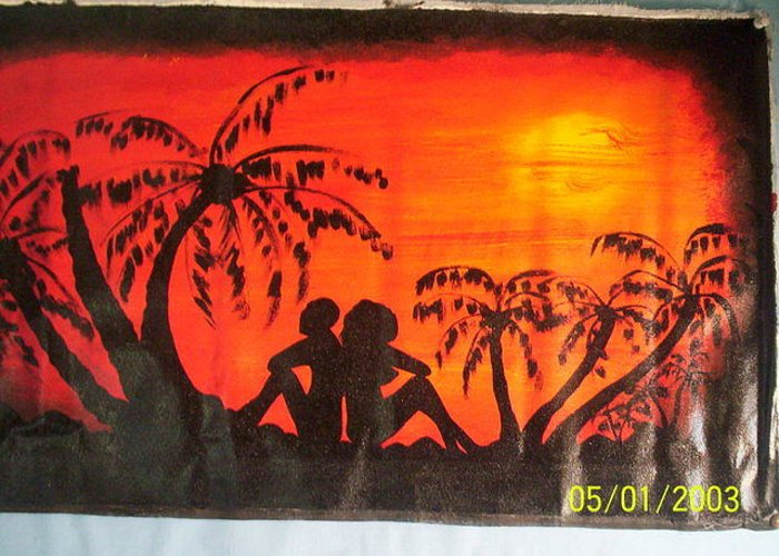 Greeting Card featuring the painting Sunset Love by Derick nana mbrah