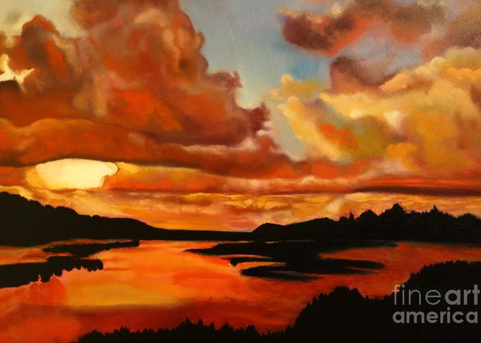 Michael Kulick Greeting Card featuring the painting Sunset by Michael Kulick