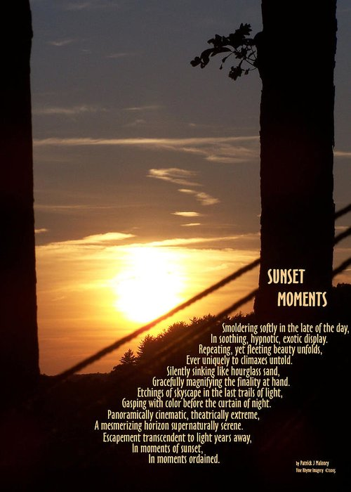 Poetry Greeting Card featuring the mixed media Sunset Moments IIi by Patrick J Maloney