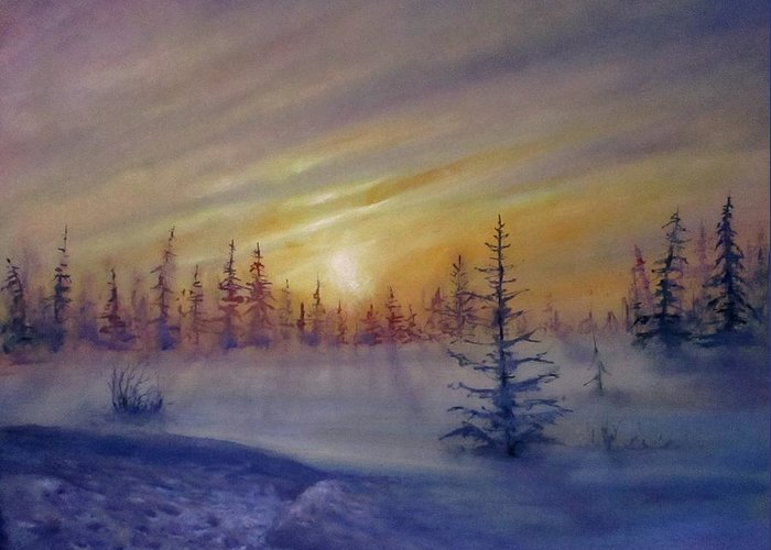 Winter Greeting Card featuring the painting Sunset by Natalja Picugina
