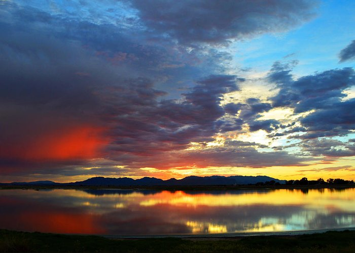Sunset Greeting Card featuring the photograph Sunset Of Colors by Brent Hall