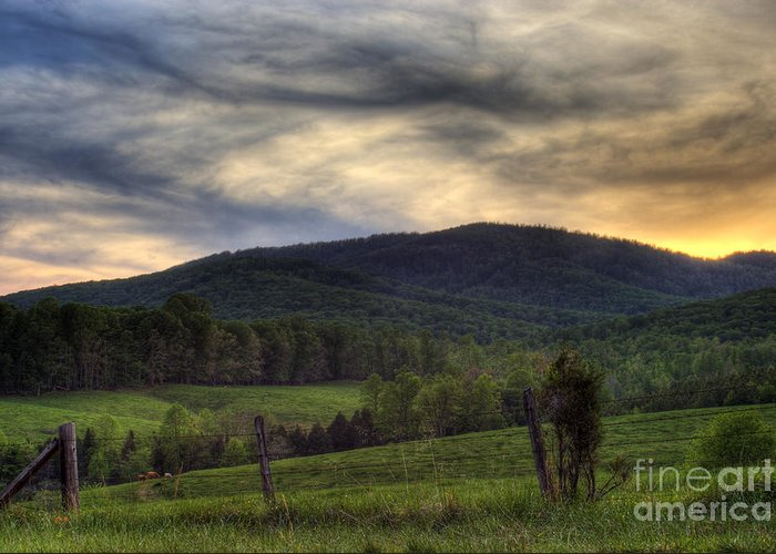 Landscape Greeting Card featuring the photograph Sunset On Appleberry Mountain 2 by Pete Hellmann
