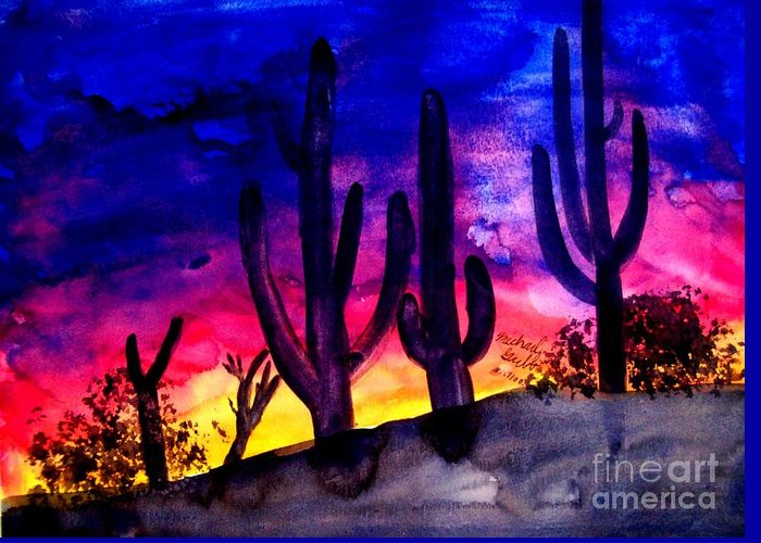 Colorful Greeting Card featuring the painting Sunset On Cactus by Michael Grubb