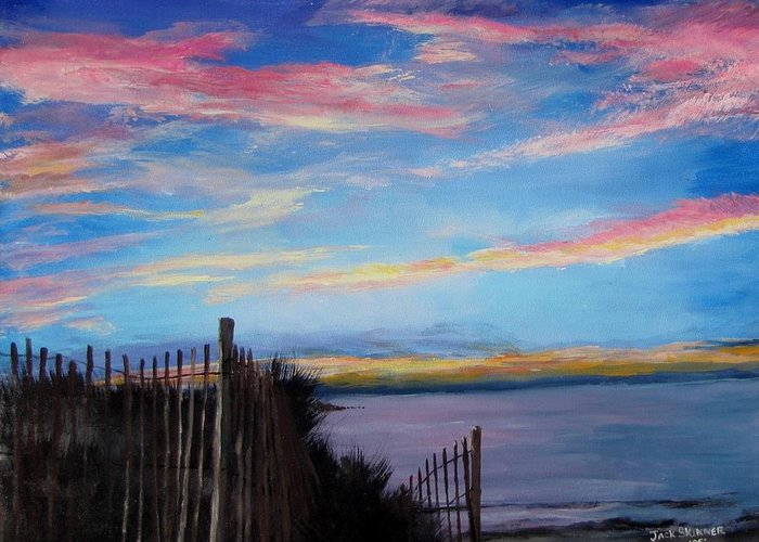 Sunset Greeting Card featuring the painting Sunset On Cape Cod Bay by Jack Skinner