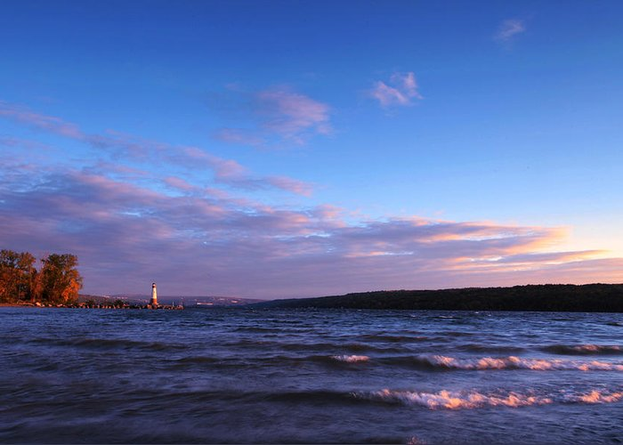 Ithaca Greeting Card featuring the photograph Sunset On Cayuga Lake Ithaca by Paul Ge