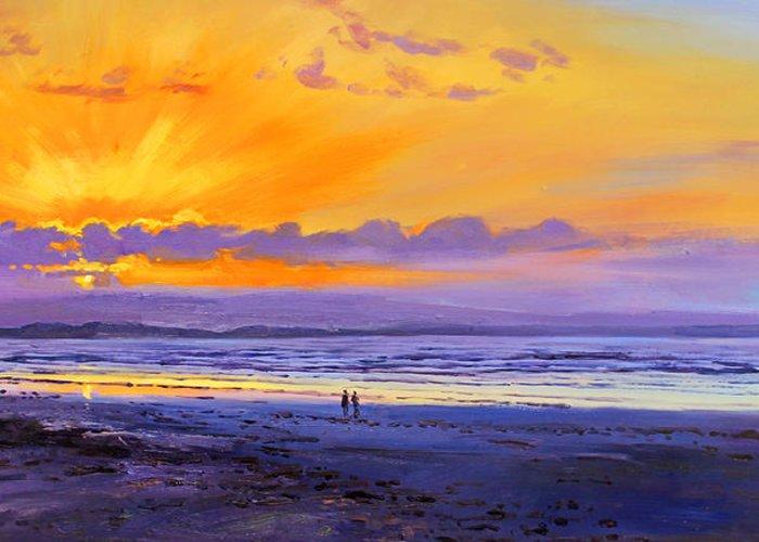 Enniscrone Beach Greeting Card featuring the painting Sunset On Enniscrone Beach County Sligo by Conor McGuire