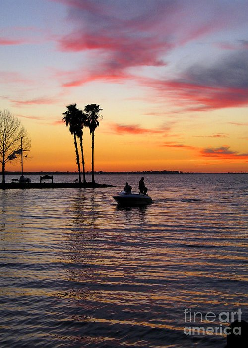 Lake Greeting Card featuring the photograph Sunset On Lake Dora At Mount Dora Florida by William Kuta