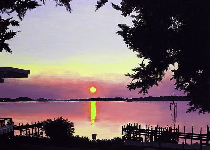 Sunset On Lake Greeting Card featuring the painting Sunset on Lake Dora by Judy Swerlick