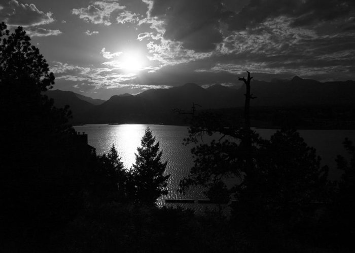 Greeting Card featuring the photograph Sunset On Lake Estes by Perspective Imagery