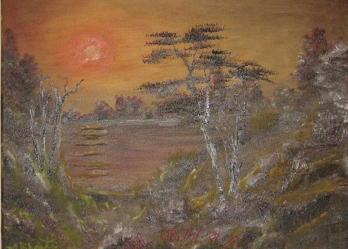 Sunset Greeting Card featuring the painting Sunset On Lake by M Bhatt