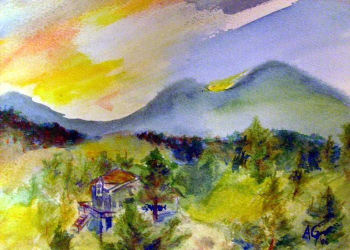 Mountain Greeting Card featuring the painting Sunset On Mount Falcon by Andrew Gillette
