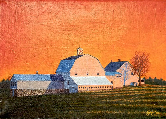 Otisfield Greeting Card featuring the painting Sunset On Otisfield Barn by Jeff Toole