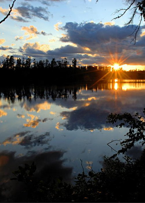 Boundary Waters Canoe Area Wilderness Greeting Card featuring the photograph Sunset On Polly Lake by Larry Ricker