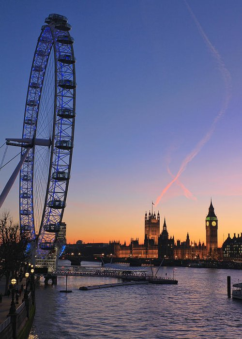 London Eye Greeting Card featuring the photograph Sunset On River Thames by Jasna Buncic