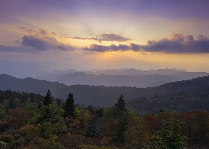 Sunset Greeting Card featuring the photograph Sunset On The Blue Ridge Parkway by Rob Travis
