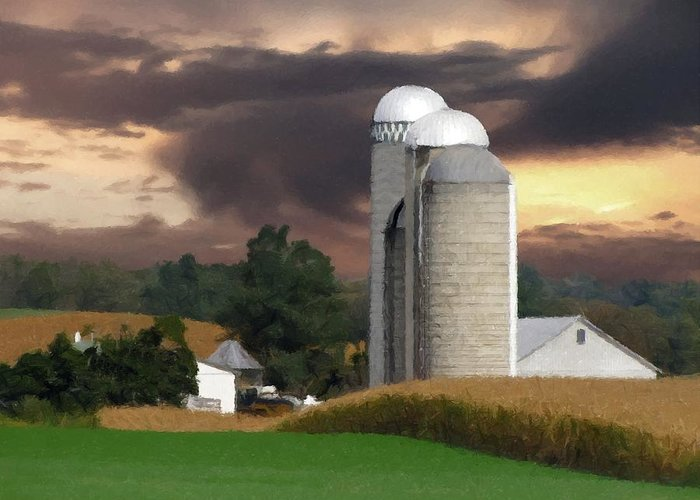 Farm Greeting Card featuring the photograph Sunset On The Farm by David Dehner