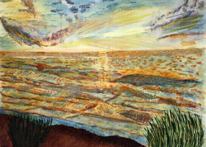 Landcape Great Sea Painting Artwork Watercolor Greeting Card featuring the painting Sunset On The Great Sea. by Shlomo Zangilevitch