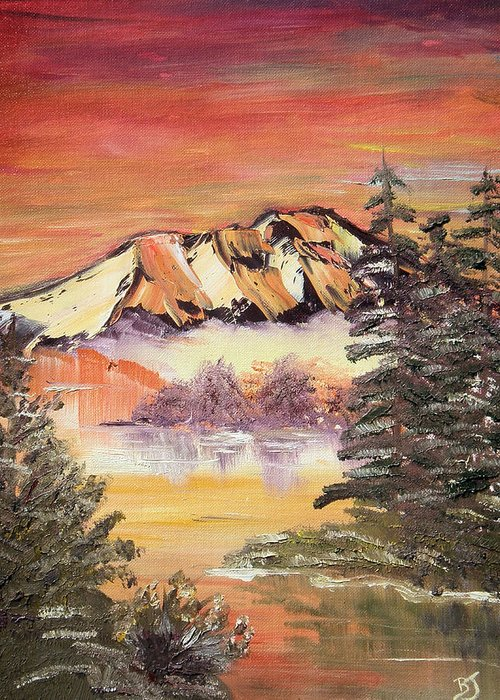 Landscape Greeting Card featuring the painting Sunset on the Lake by Beverly Johnson