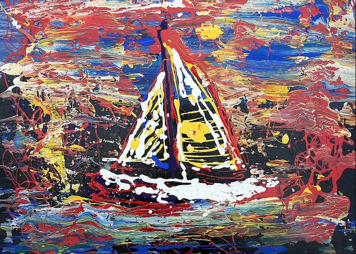 Sailboat Greeting Card featuring the painting Sunset On The Lake by J R Seymour