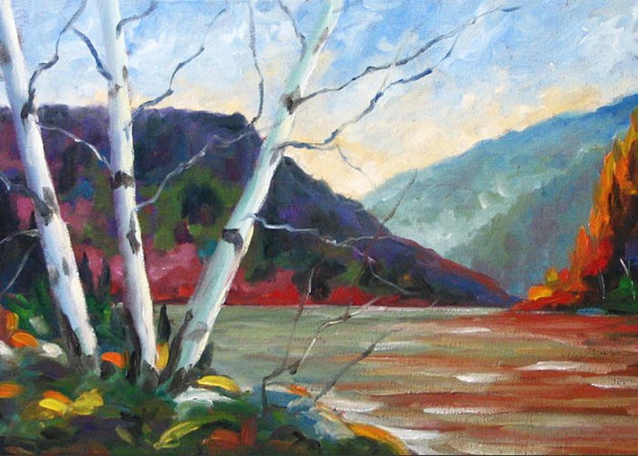 Landscape; Landscapes/scenic; Birches;sun;lake;pranke Greeting Card featuring the painting Sunset On The Lake by Richard T Pranke
