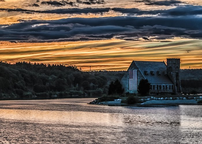 Landscape Greeting Card featuring the photograph Sunset on The Old Stone Church by Bob Bernier