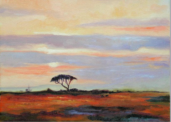Landscape Greeting Card featuring the painting Sunset On The Serengheti by Ginger Concepcion