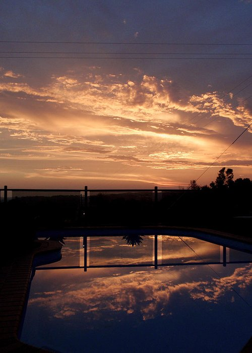 Pool Greeting Card featuring the photograph Sunset Over A Pool by Edan Chapman