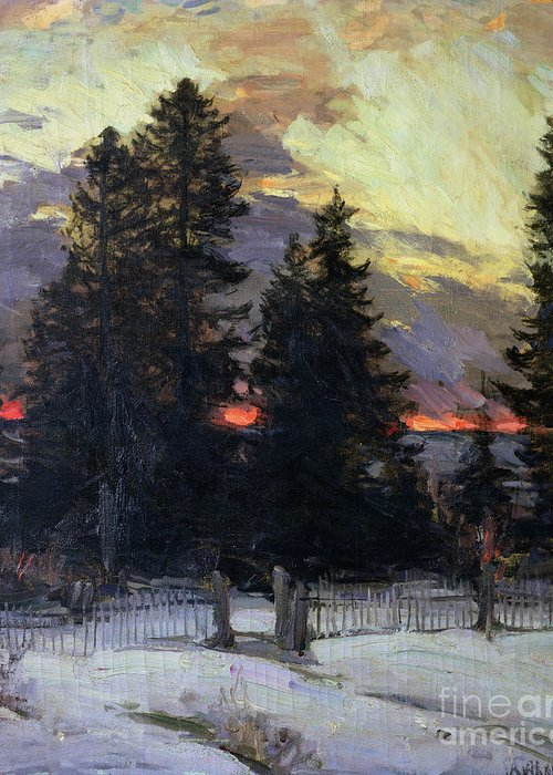 Sunset Greeting Card featuring the painting Sunset Over A Winter Landscape by Abram Efimovich Arkhipov