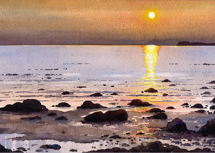 Sunset Greeting Card featuring the painting Sunset Over Cara by Paul Dene Marlor