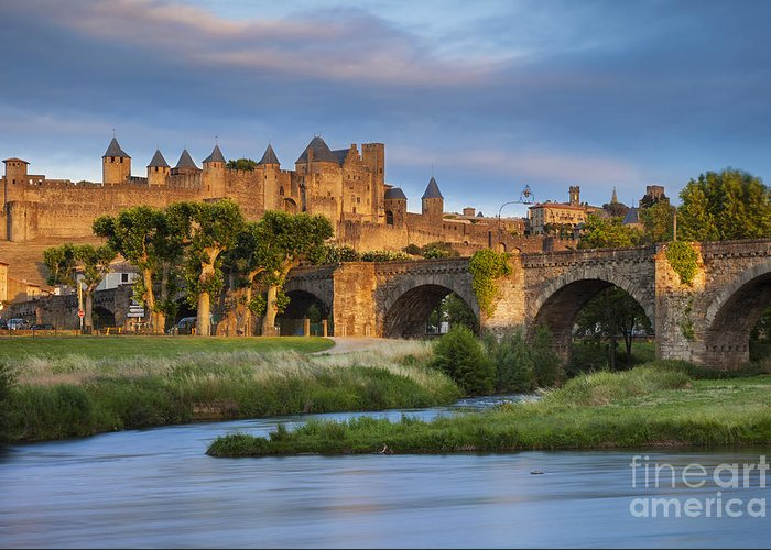 Arch Greeting Card featuring the photograph Sunset Over Carcassonne by Brian Jannsen