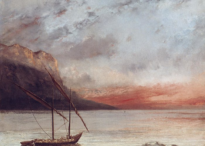 Sunset Greeting Card featuring the painting Sunset Over Lake Leman by Gustave Courbet