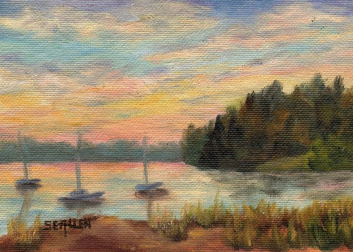 Sunset Greeting Card featuring the painting Sunset Over Massabessic by Sharon E Allen