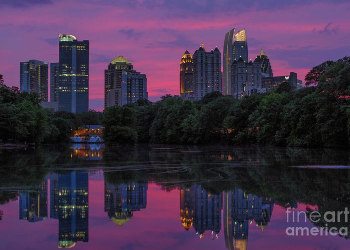 Dogwood Festival Greeting Card featuring the photograph Sunset Over Midtown by Doug Sturgess